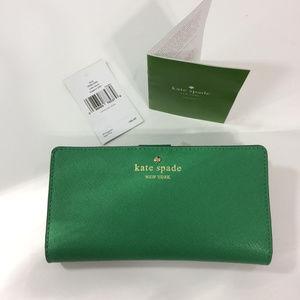New Kate Spade Stacy Cedar Street Green Wallet